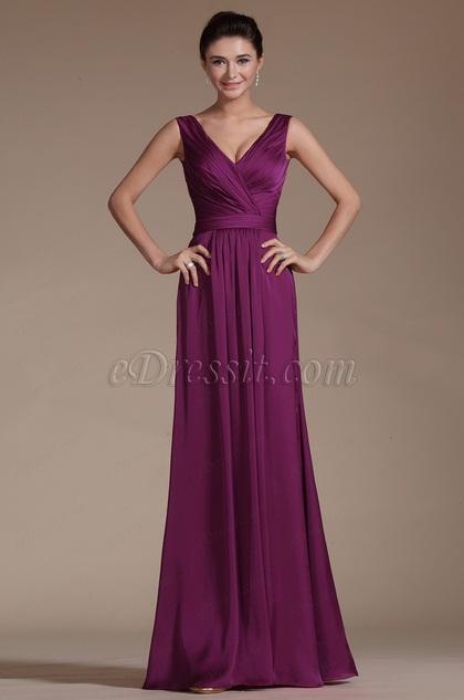 Simple Sexy V-neck Long Evening Dress (C00140812)