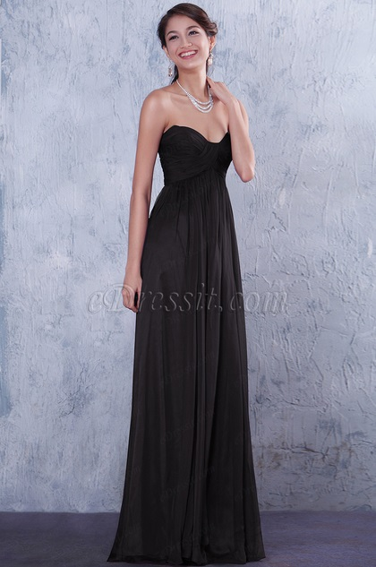 Strapless Sweetheart Neck Black Bridesmaid Dress Evening Dress (07156200)