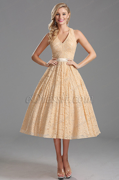 Plunging Halter Neck Overlace Tea Length Party Dress