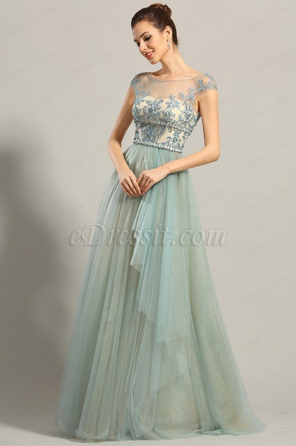 eDressit Cap Sleeves Embroidery Prom Dress Formal Dress (00153305)