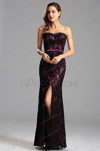 Hot Pink Overlace Slit Formal Dress Bridesmaid Dress (X07151212-1)