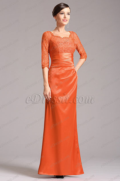 Modest Lace Sleeves Orange Mother of the Bride Gown (X26121810)