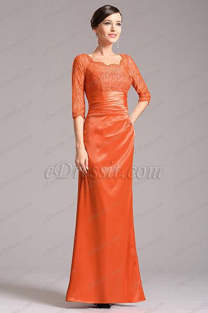eDressit Stilvoll mit Spitze Ärmel Kleid für Braut's Mutte (X26121810)
