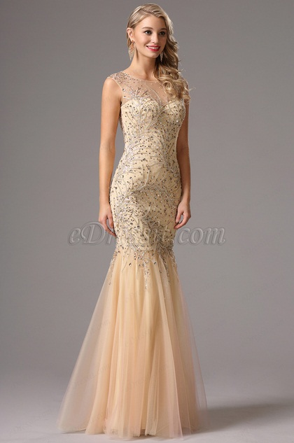 Gorgeous Sleeveless Beaded Beige Prom Dress Formal Dress (36161214)