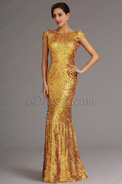 Golden Sequin Evening Dress Formal Gown with Cowl Back (X07160359)