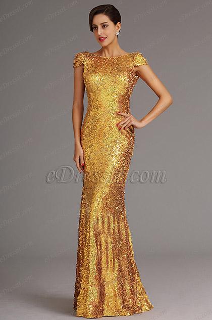 Golden Pailletten Abendkleid Formal Kleid mit Cowl Rücken (X07160359)