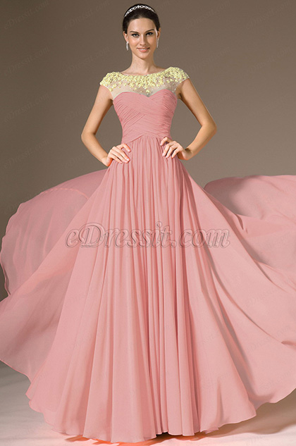 Round Neck Pink Evening Dress Prom Dress (H02143757)