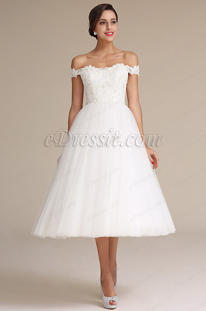 eDressit White Off Shoulder Bridal Reception Dress Wedding Gown (01161307)