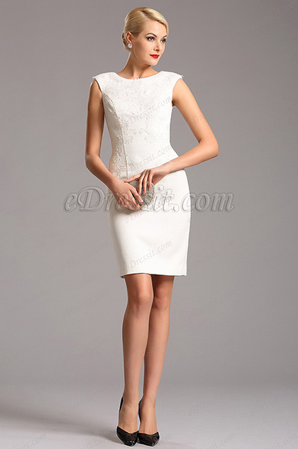 eDressit White Cap Sleeves Knee Length Cocktail Party Dress (03160207)