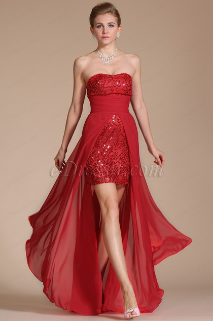 Red Strapless Beadings Evening Party Gown (C36141202)