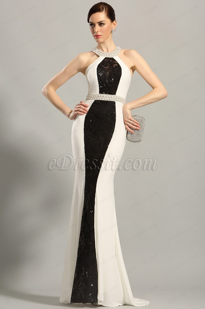 Stylish Beaded Halter Neck Evening Gown Formal Dress