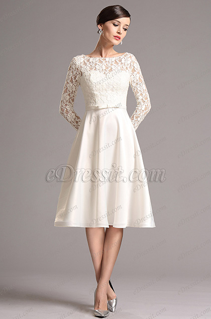 Long Sleeves Illusion Sweetheart  Party Dress  (X04151807)