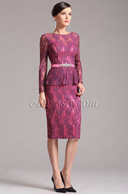 Stylish Long Sleeves Lace Hot Pink Mother of the Bride Dress (X26150312)