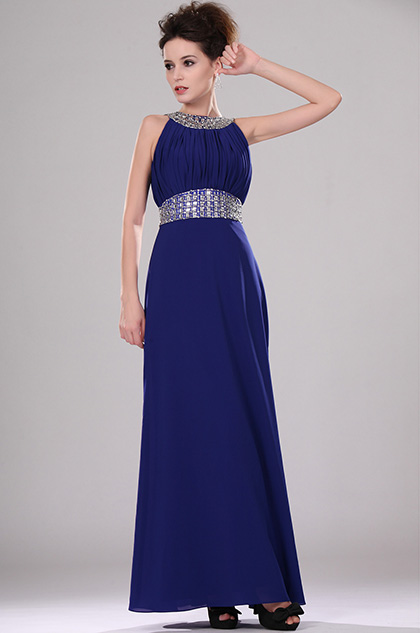 Beaded Halter Blue Evening Dress (H00100205)