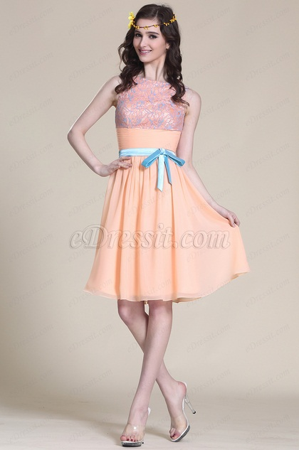 Adorable Sleeveless Peach Party Dress Cocktail Dress (07152701)