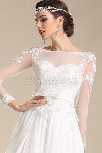 Elegant Long Sleeves Illusion Sweetheart Neck Chiffon Wedding Dress (01151307)