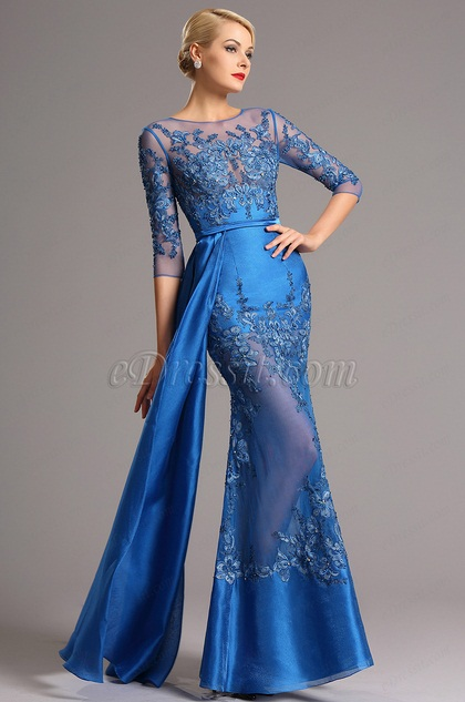 Vestido Formal de Noche Azul Bordado Mangas Medias (02161105)