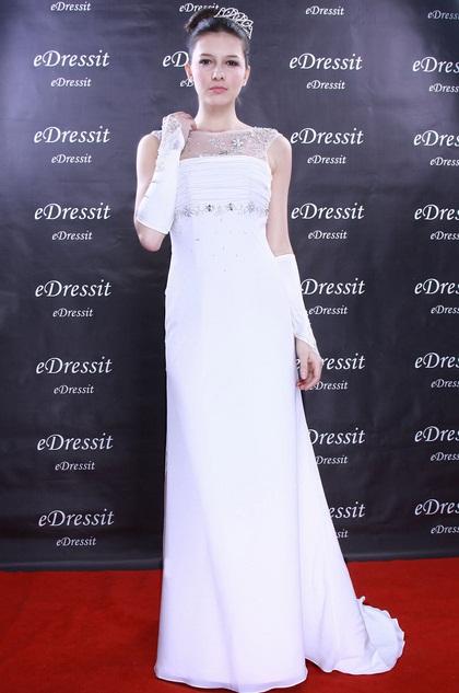 Sleeveless White Wedding Dress Prom Dress (H01091007)