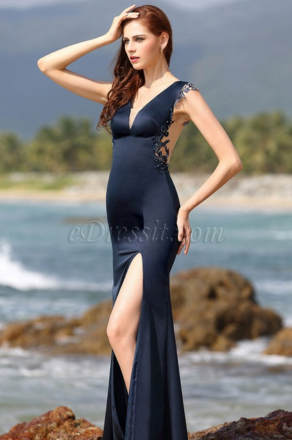 Sexy Sleeveless Navy Blue Formal Dress Prom Dress (00160105)