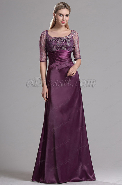 eDressit Halbärmliges Kleid Für Braut′s Mutter Spitzenkorse(X26121806)