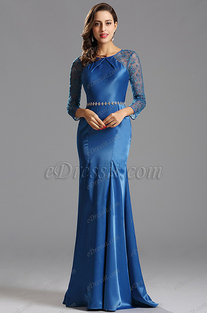 Long Sleeves Royal Blue Formal Dress Evening Dress (X00153105)