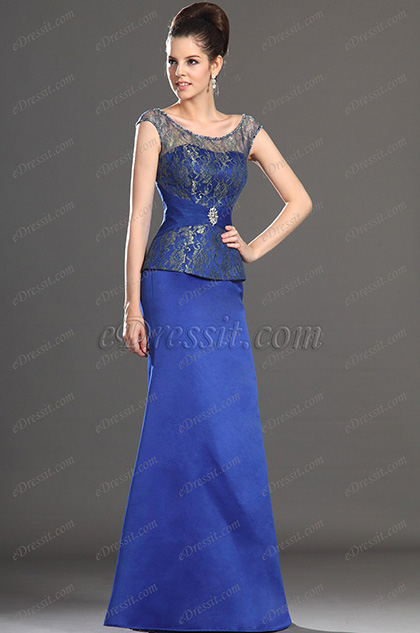 Elegant Blue Cap sleeves Mother of the Bride Dress (H26132805)