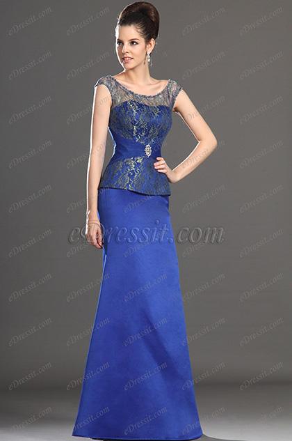Elegant Blue Cap sleeves Mother of the Bride Dress (H26132805)
