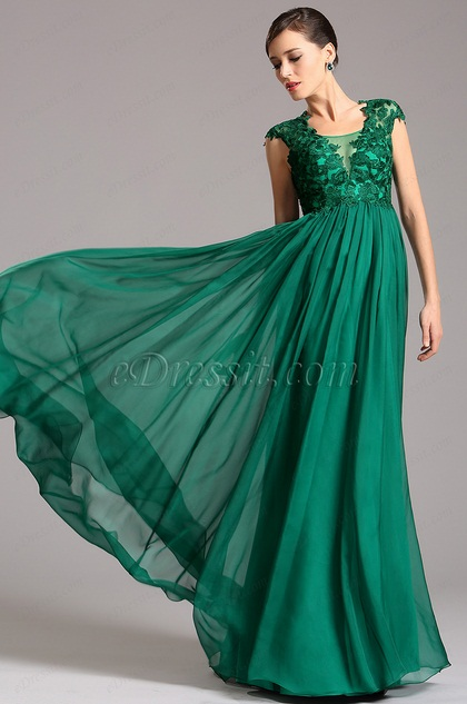 A Line Empire Waist Emerald Maternity Dress Formal Dress