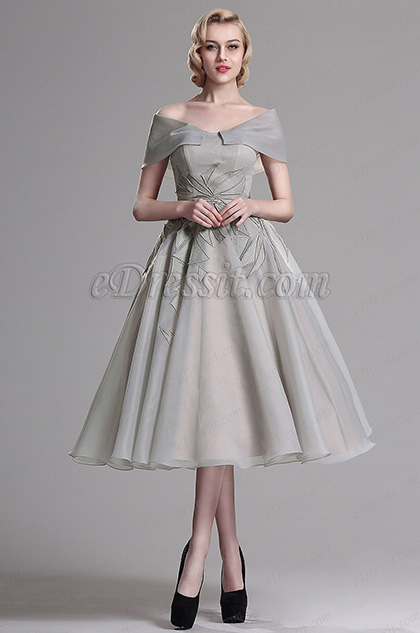 eDressit Серое Коктейльное Платье с V Декольте(04161408)