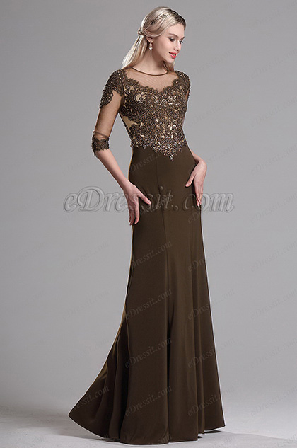 Edressit Brown Illusion Neckline Beaded Mother Of The Bride Dress 36163720