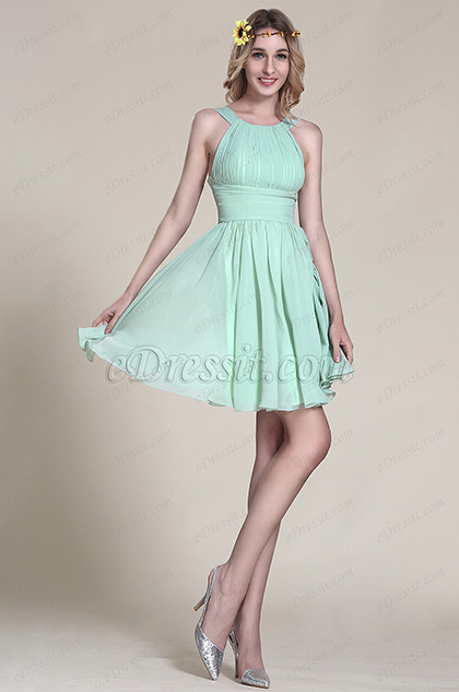 Halter Neck Mint Party Dress Bridesmaid Dress (07152004)