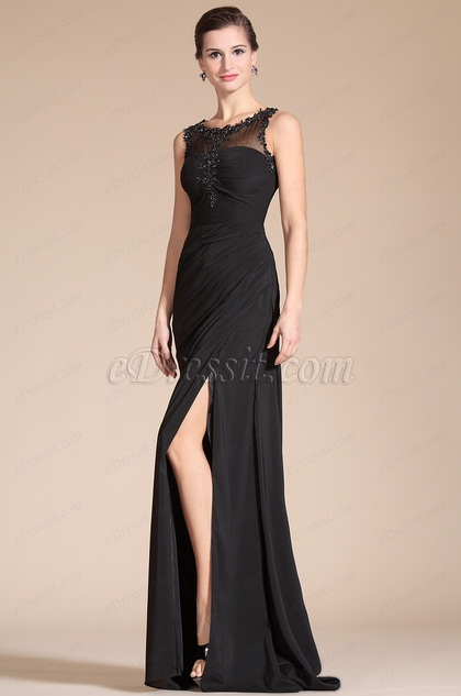Sexy Black Round Neck Sheer Top Evening Gown (C00141700)