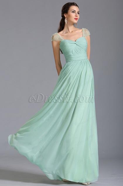 Verde Menta Vestido de Dama de Honor Line A (07153604)