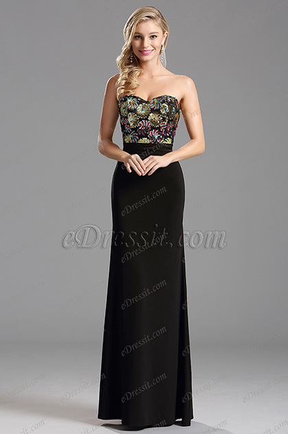 Strapless Floral Pattern Sequin Bodice Evening Formal Dress (X07160200-1)