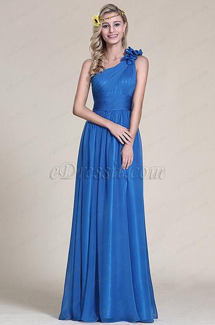 Синее Платье для Подружек Невесты на Одно Плечо (07153405)