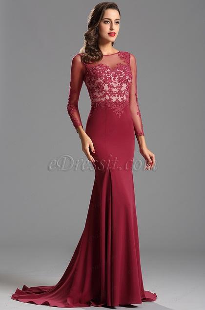 Elegant Long Lace Sleeves Formal Dress Evening Dress (02152012)