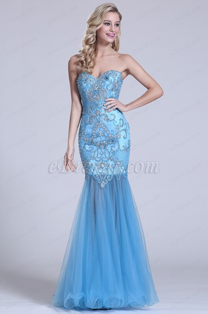 Strapless Sweetheart Beaded Blue Prom Gown (C36150905)