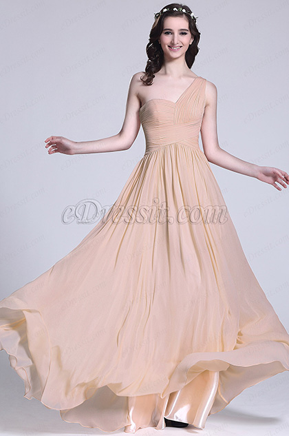 Elegant One Shoulder Rosy Brown Bridesmaid Dress (07151346)