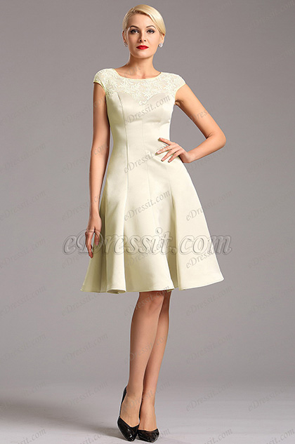 Elegant Beige Capped Sleeves Party Dress Cocktail Dress (X04160314)