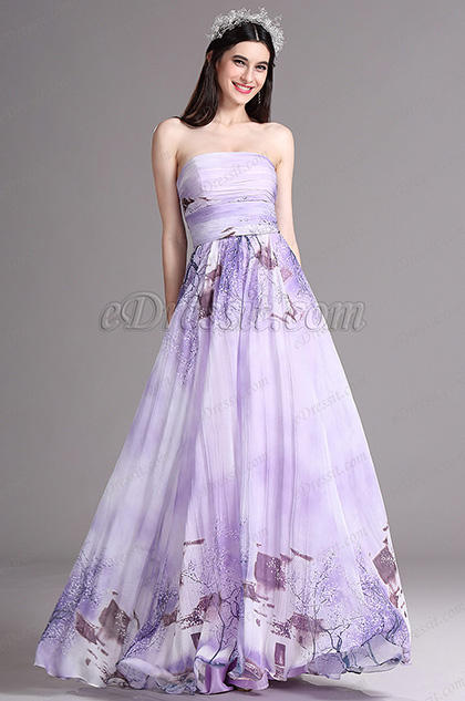 eDressit Flattering Printed Strapless Long Summer Dress (X07151438)