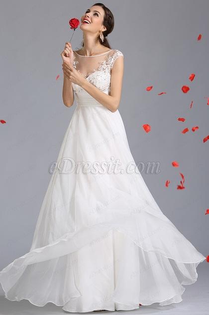 A-Linie Empire-Taille gesticktes Hochzeitskleid (01142207)