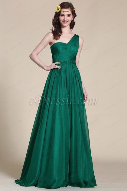 One Shoulder Dark Green Empire Waist Evening Dress (07151304)