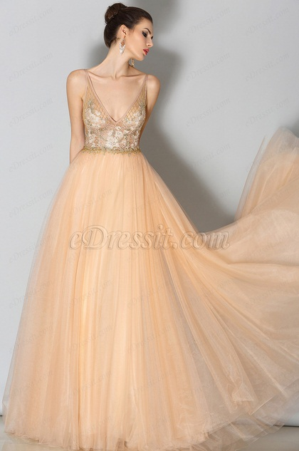 Edressit Plunging V Neck Beige Evening Dress Prom Dress 02153514