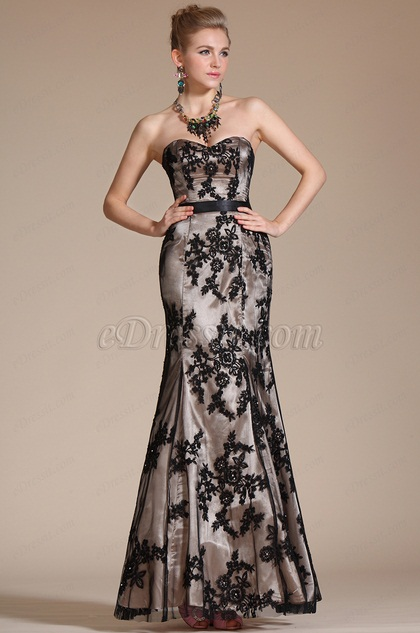 Black Lace Sweetheart Mermaid Prom Gown (C36140700)