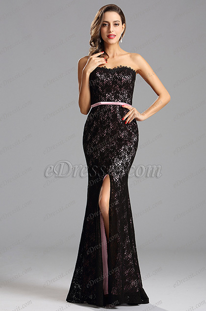 Strapless Pink Lace Formal Dress with High Slit (X07151201-1)