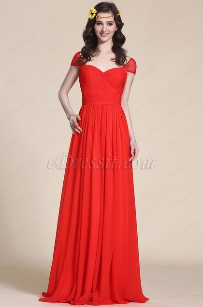 Cap Sleeve Sweetheart Red Evening Dress Bridesmaid Dress (07154502)