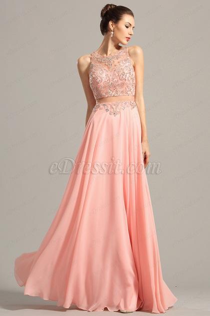Robe de soirée longue rose sans manche bijoutée (C36153001)