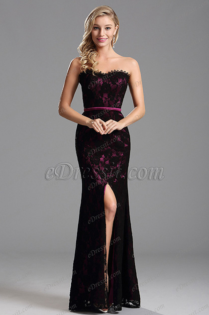 Graceful Overlace High Slit Hot Pink Formal Dress Evening Gown (X07151212-6)