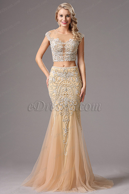 Capped Sleeves Two-piece Beaded Beige Evening Dress (36160214)