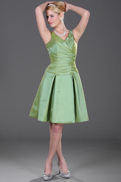 V Cut Green Bridesmaid Dress Party Dress (H07100804)